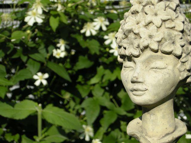 Ernstes Lächeln im Garten